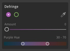 Lightroom Desktop Defringe Controls