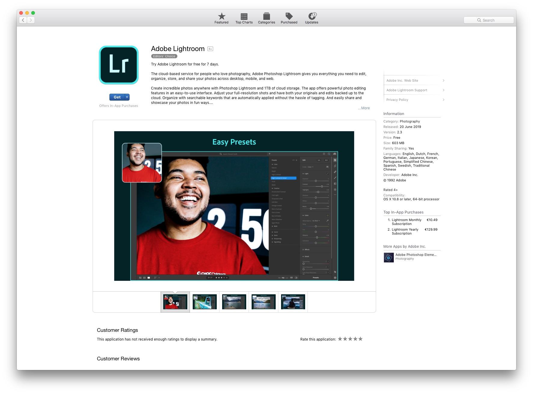Lightroom on the Mac App Store
