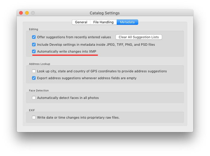 Catalogue Settings in Lightroom