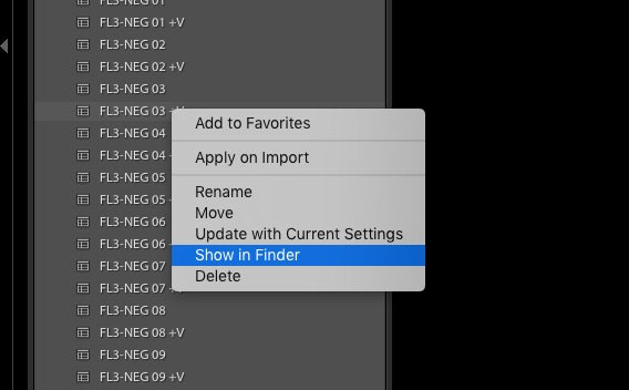 Lightroom Classic - Presets - Show in Finder