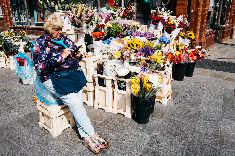 Flower seller on Dublin's Grafton Street - Street Photograpy on