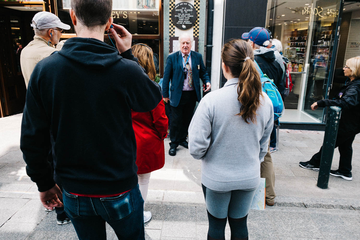Tour Guide outside Bewleys in Dublin - Street Photograpy on an i