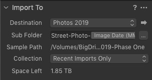 """""""Import To.."""" Panel from Capture One Import Panel"""