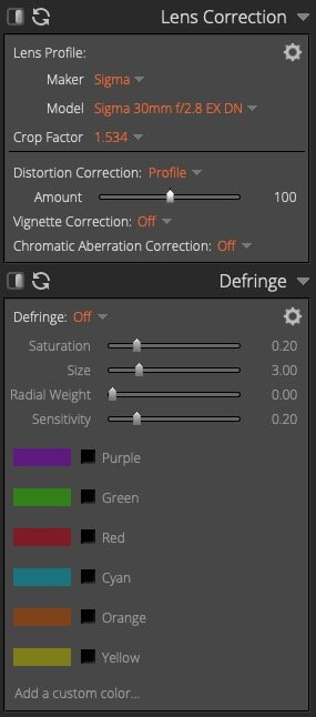 Lens Correction and Defringe Controls - Exposure X5