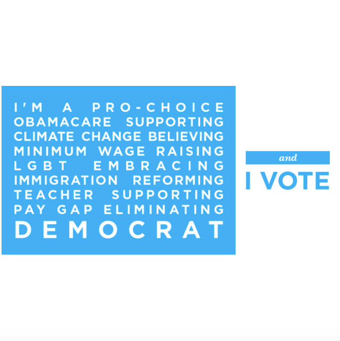 This graphic , deployed on the eve of the 2014 midterms, instilled pride in Democrats and encouraged them to get out the vote by listing positions and values.