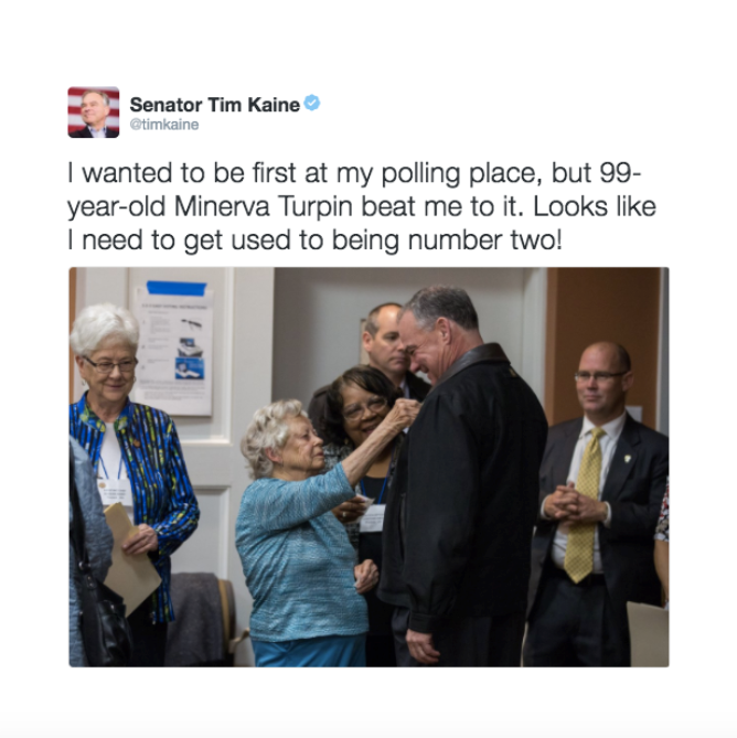 Senator Kaine  had hoped to be first person to cast his ballot for Hillary at his polling location, but he arrived to find he'd been beaten by a 99-year-old woman. We seized the opportunity to highlight the historic election.