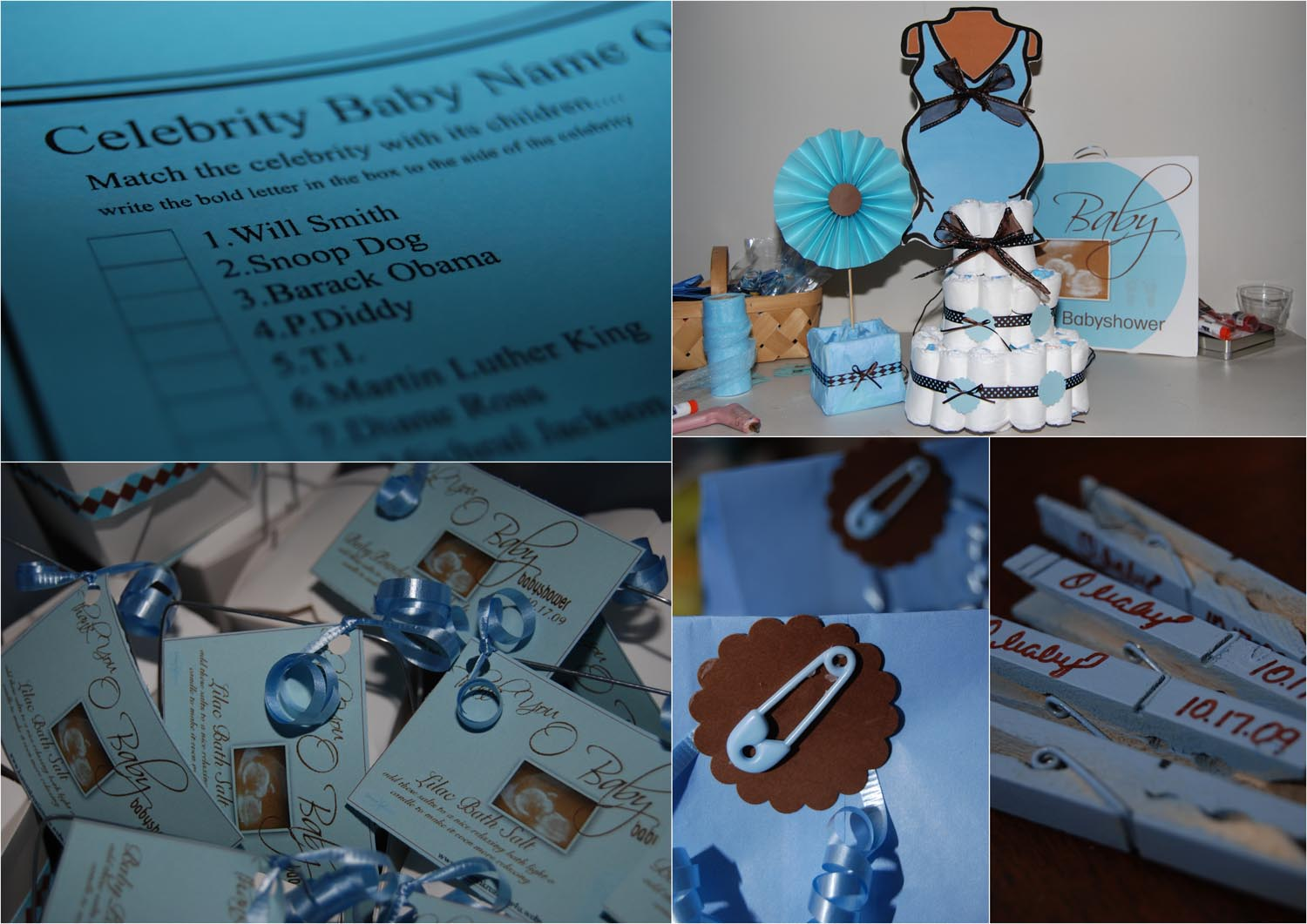 baby shower blue and brown kustom supplies
