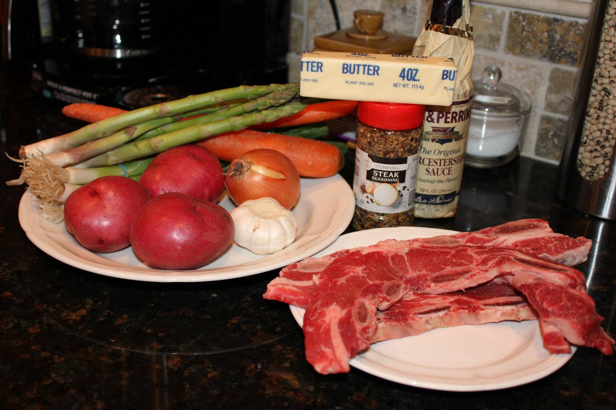 1st Things first gather the ingredients you will need for this meal    Ingredients   4 pounds boneless beef short ribs, cut into 3-inch long pieces.  Kosher salt and freshly ground black pepper.  2/3 cup light brown sugar.  1 teaspoon Hungarian paprika.  1/2 teaspoon garlic powder.  1 tablespoon white vinegar.  1/2 teaspoon dried ground thyme.  2/3 cup ketchup.  1 tablespoon yellow mustard  1 tablespoon Worcestershire sauce