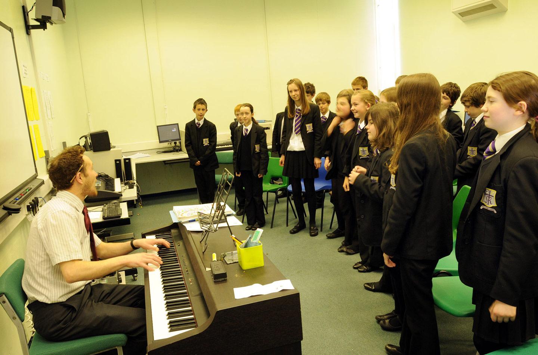 Music lesson, trainee teacher at St. Mary's Menston
