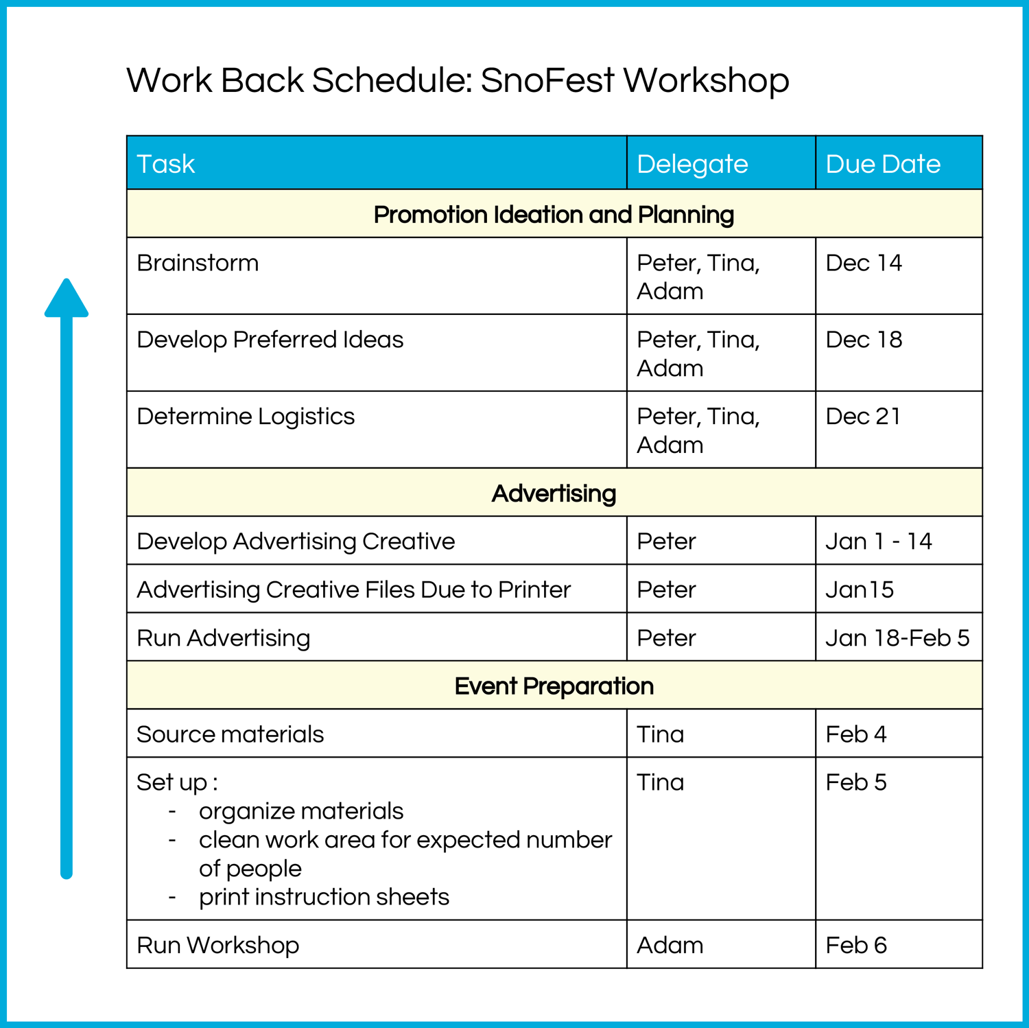 This is a sample basic work back schedule.