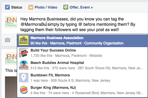 Simply type @MarmoraBusinessAssociation, and choose the page from the drop down menu, to tag the MBA page.