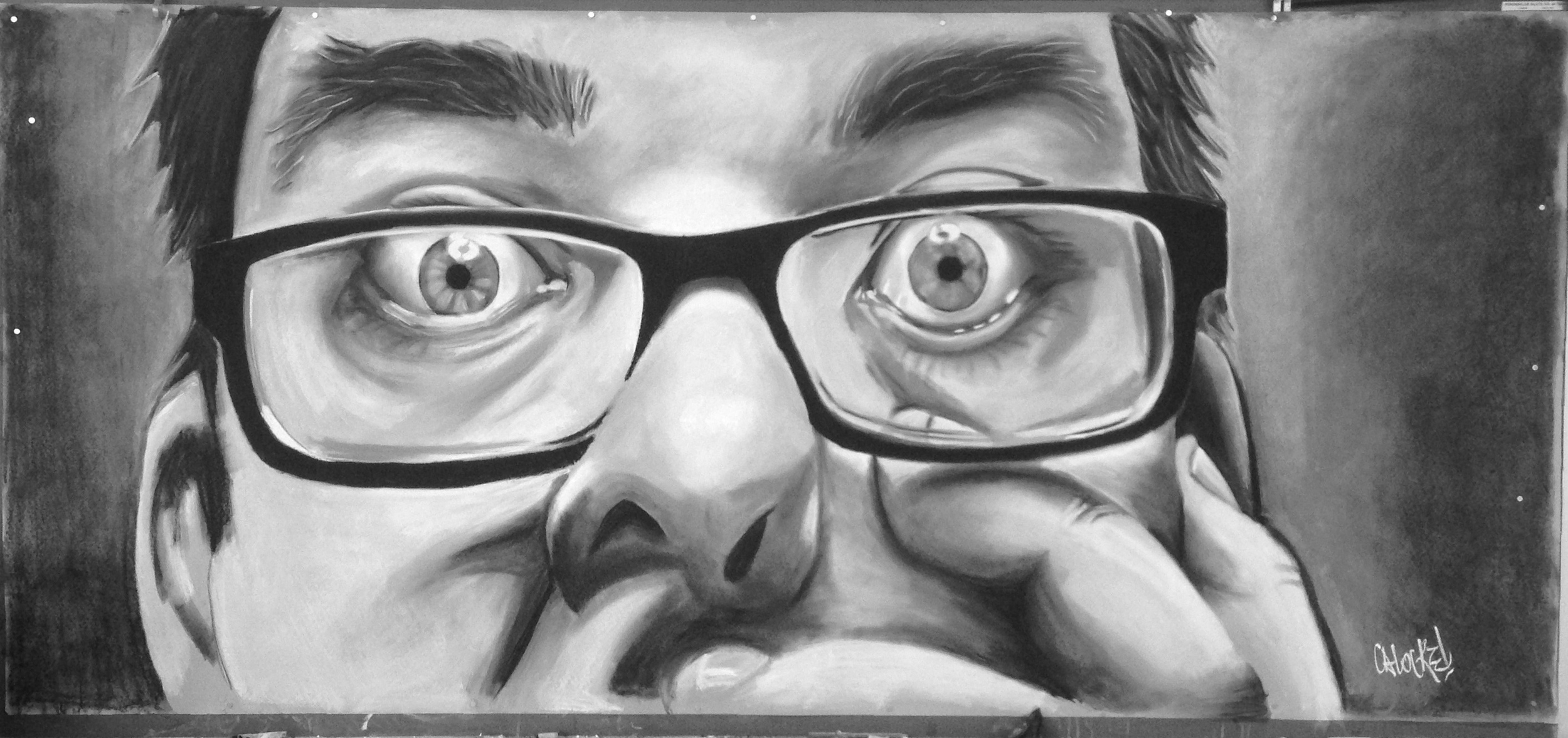 "Self-Portrait.  Chalk and Charcoal on toned paper.  93"" x 42"""