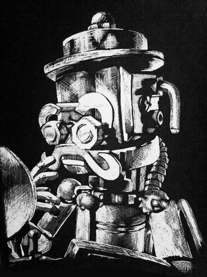 "Scratchboard portrait of Walbro the Dapper Robot. 9"" x 12"""