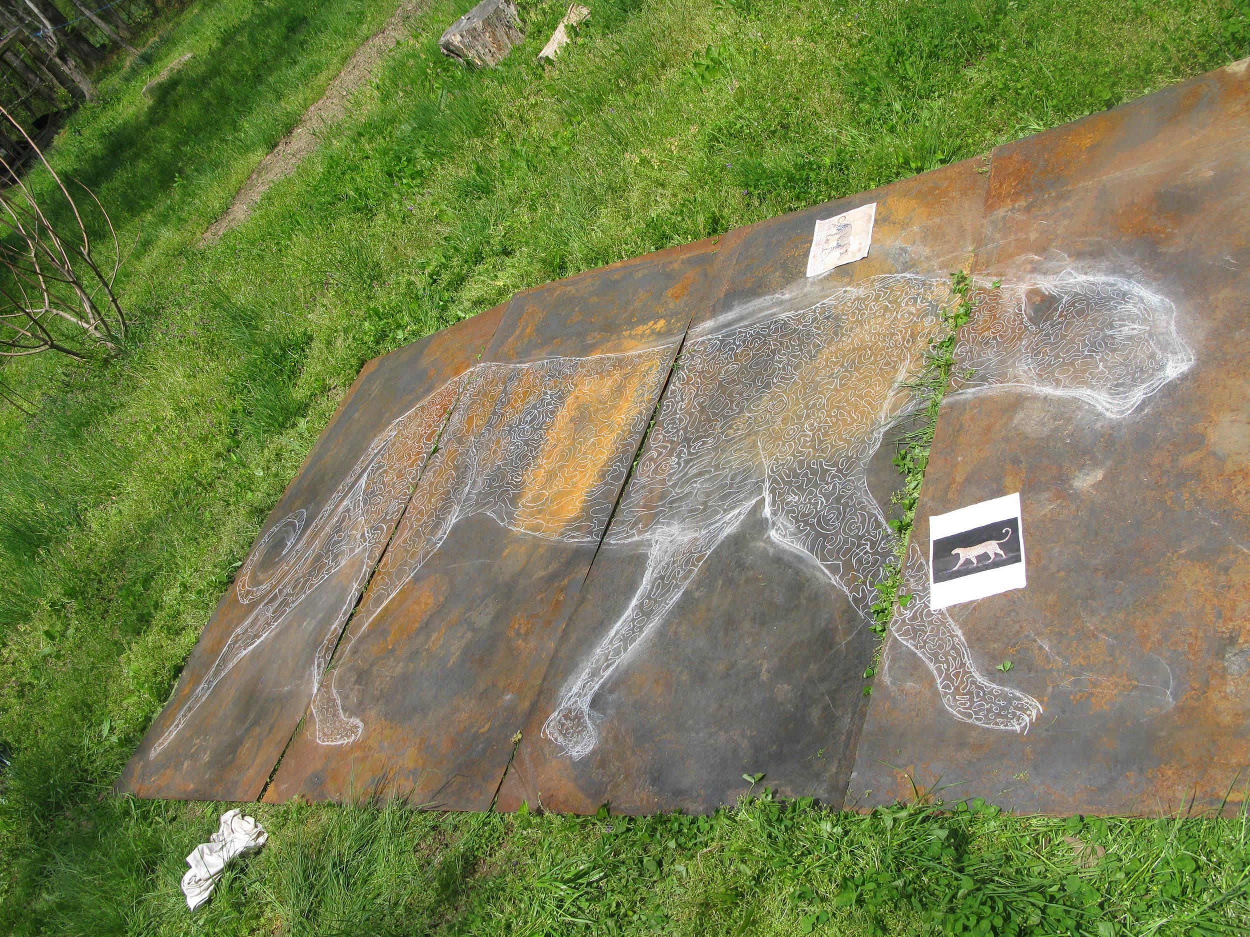Leopard chalk drawing
