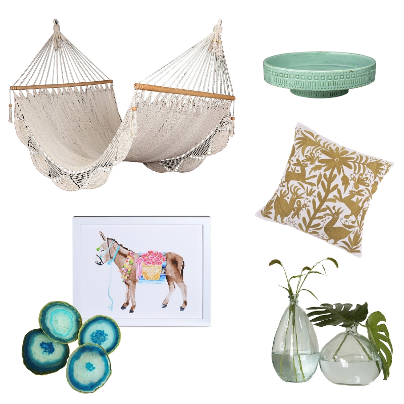 Hammock  //  Pedestal  //  Otomi Pillow  //  Recycled Glass Vase  //  Agate Coasters  //  Donkey Print