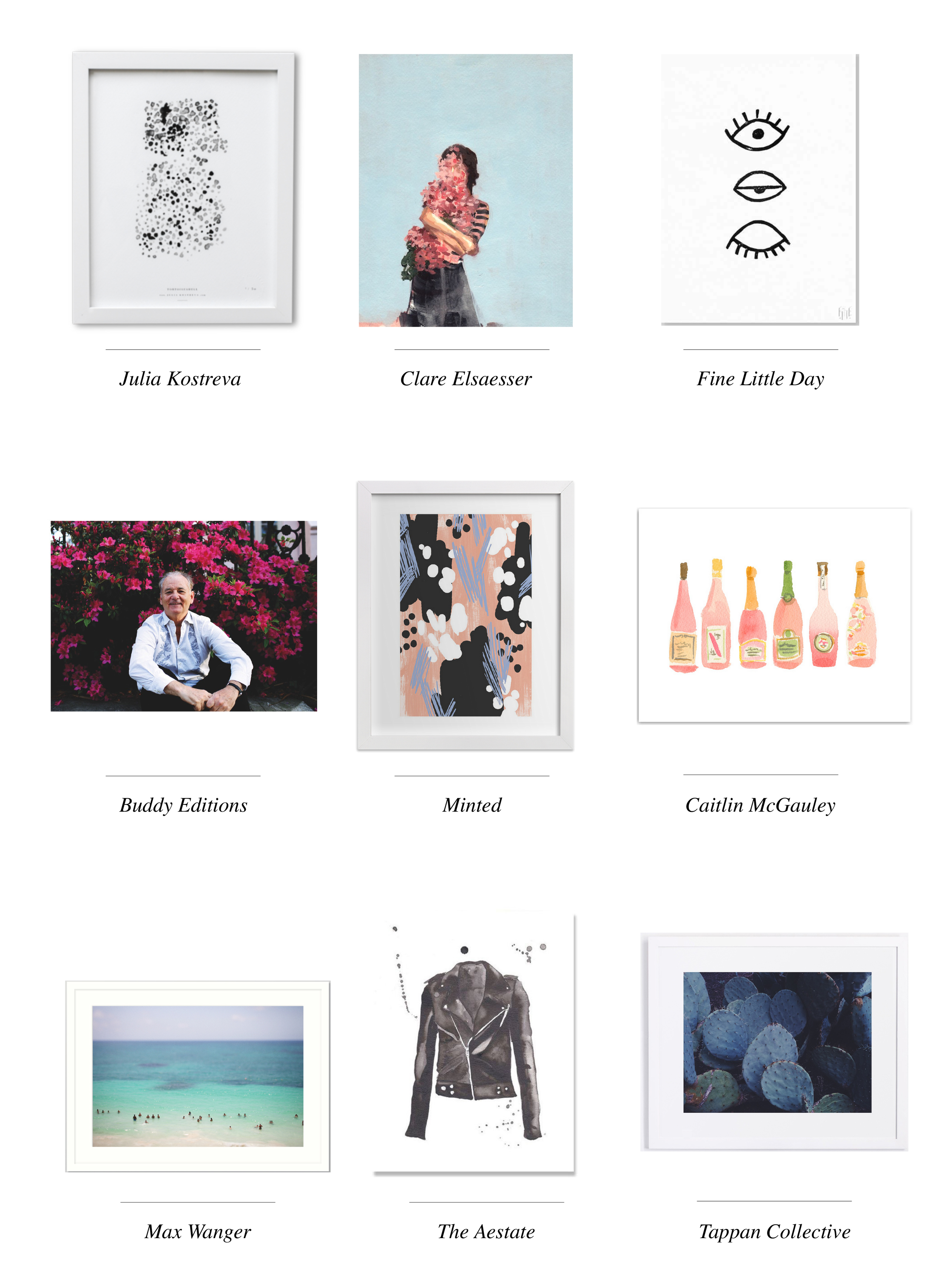 Julia Kostreva  //  Clare Elsaesser  //  Fine Little Day  //  Buddy Editions  //  Minted  //  Caitlin McGauley  //  Max Wanger  //  The Aestate  //  Tappan Collective
