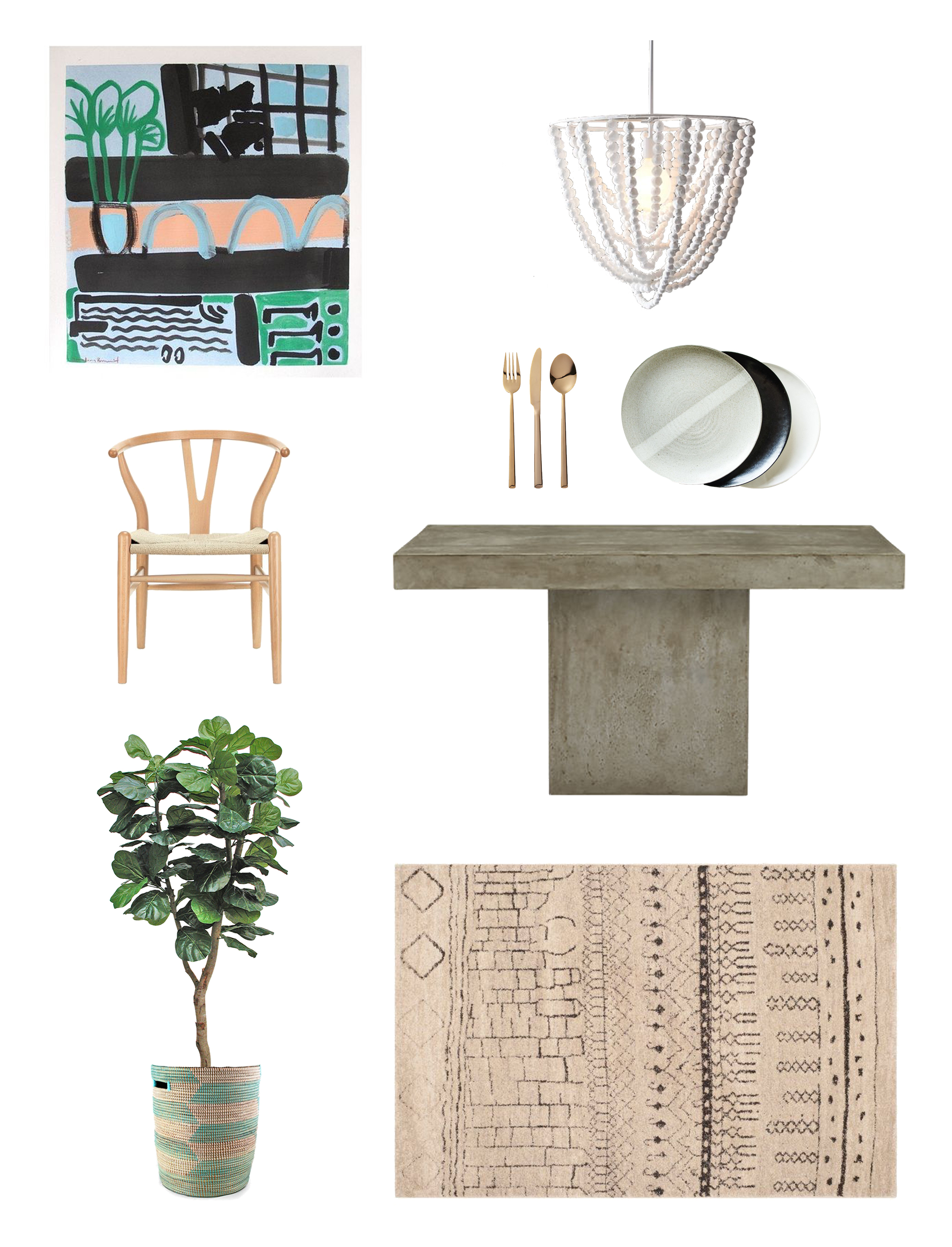 Painting  //  Light  //  Flatware  //  Dinnerware  //  Chair  //  Table  //  Rug  //  Plant  //  Basket