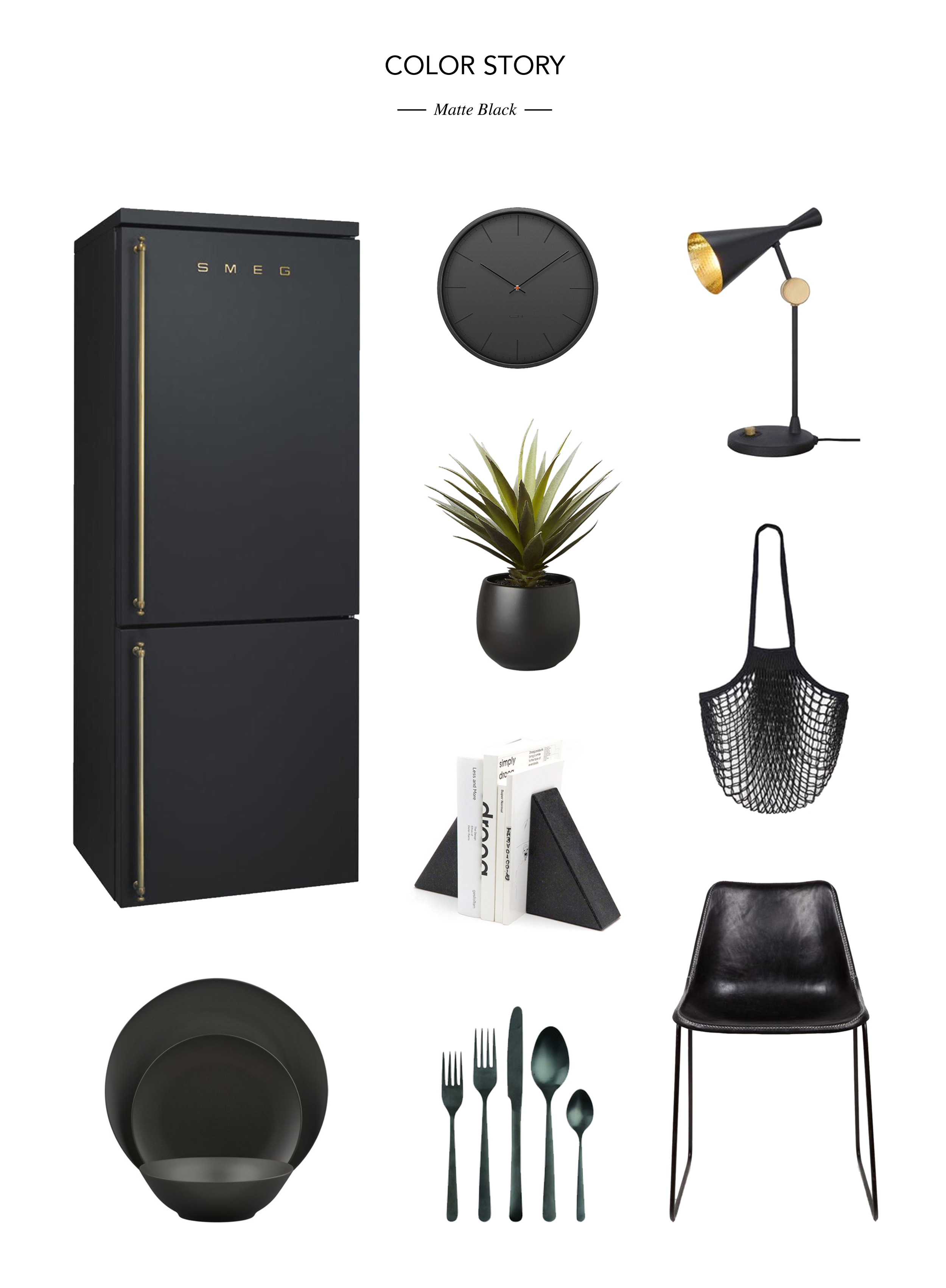 Fridge  //  Serveware  //  Clock  //  Planter  // Bookends  //  Cutlery  //  Lamp  //  Bag  //  Chair