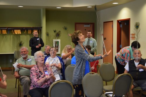 Choosing a priority of focus, balance and flexibility in our mission and ministry as care-ers is exemplified by an activity with feathers in a session last year.