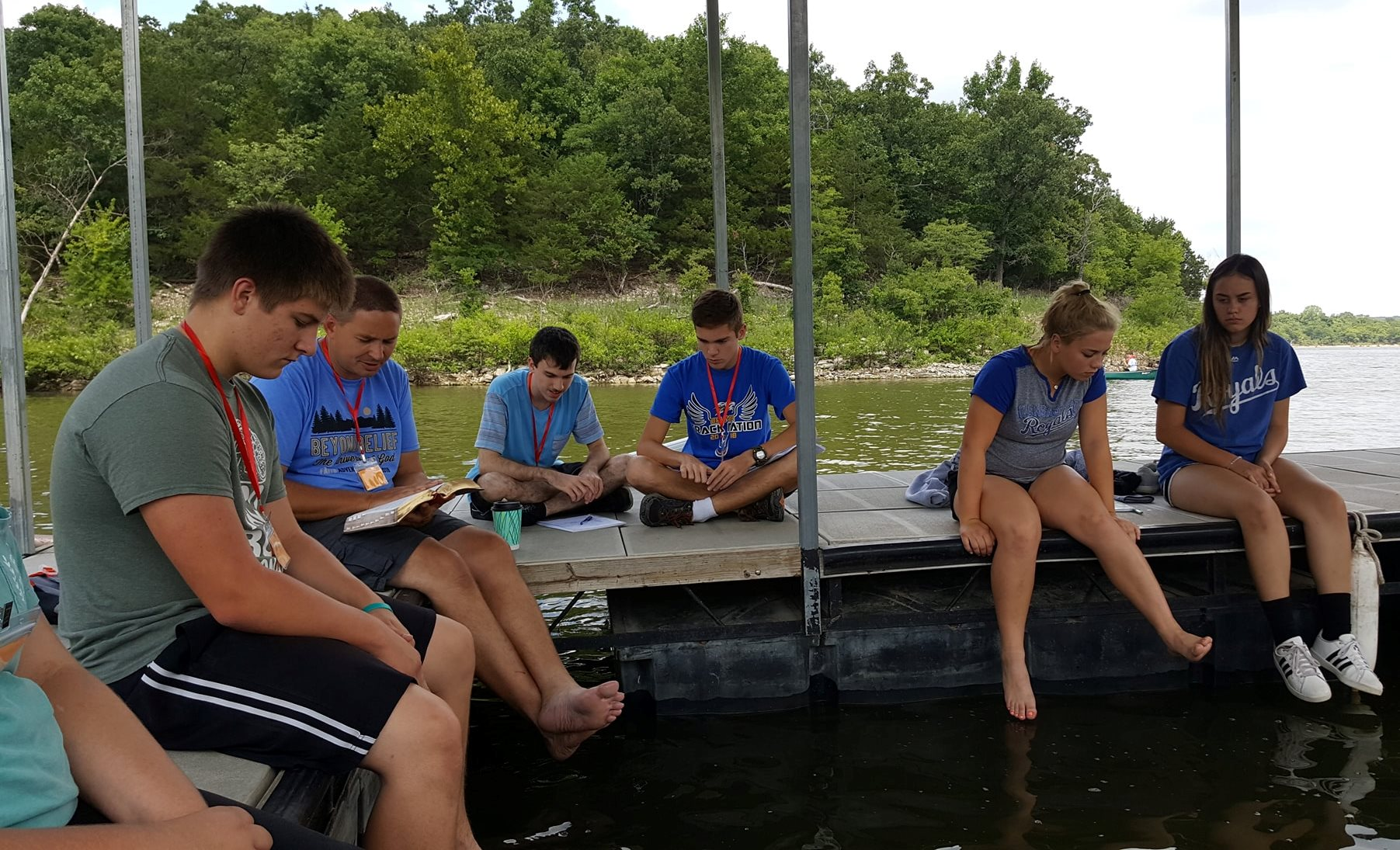 CYF Bible Study on the dock.jpg