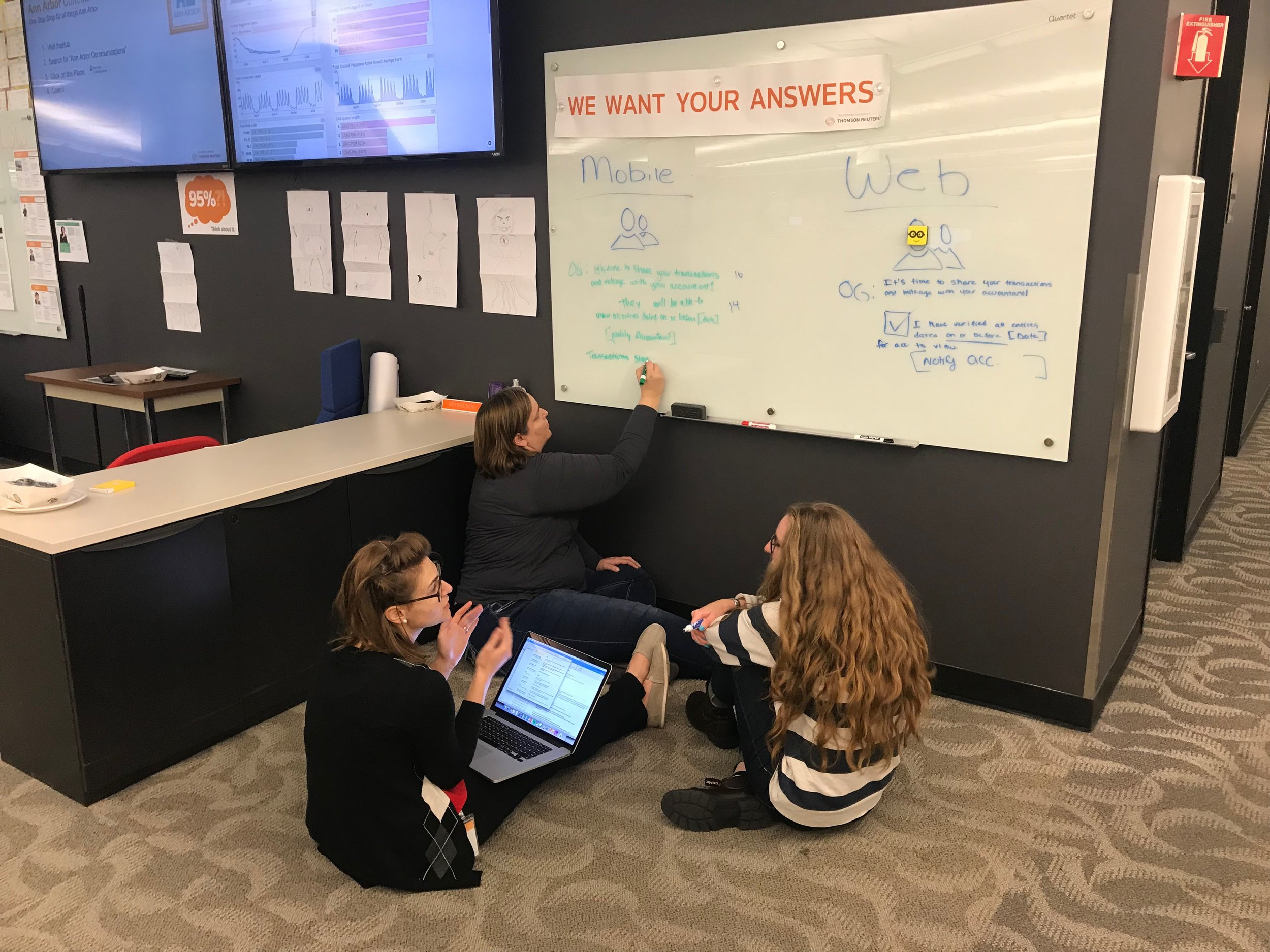 Brainstorming how button functionality and copy needed to be handled differently across mobile and web with the OnBalance Lead Analyst and UX teammate