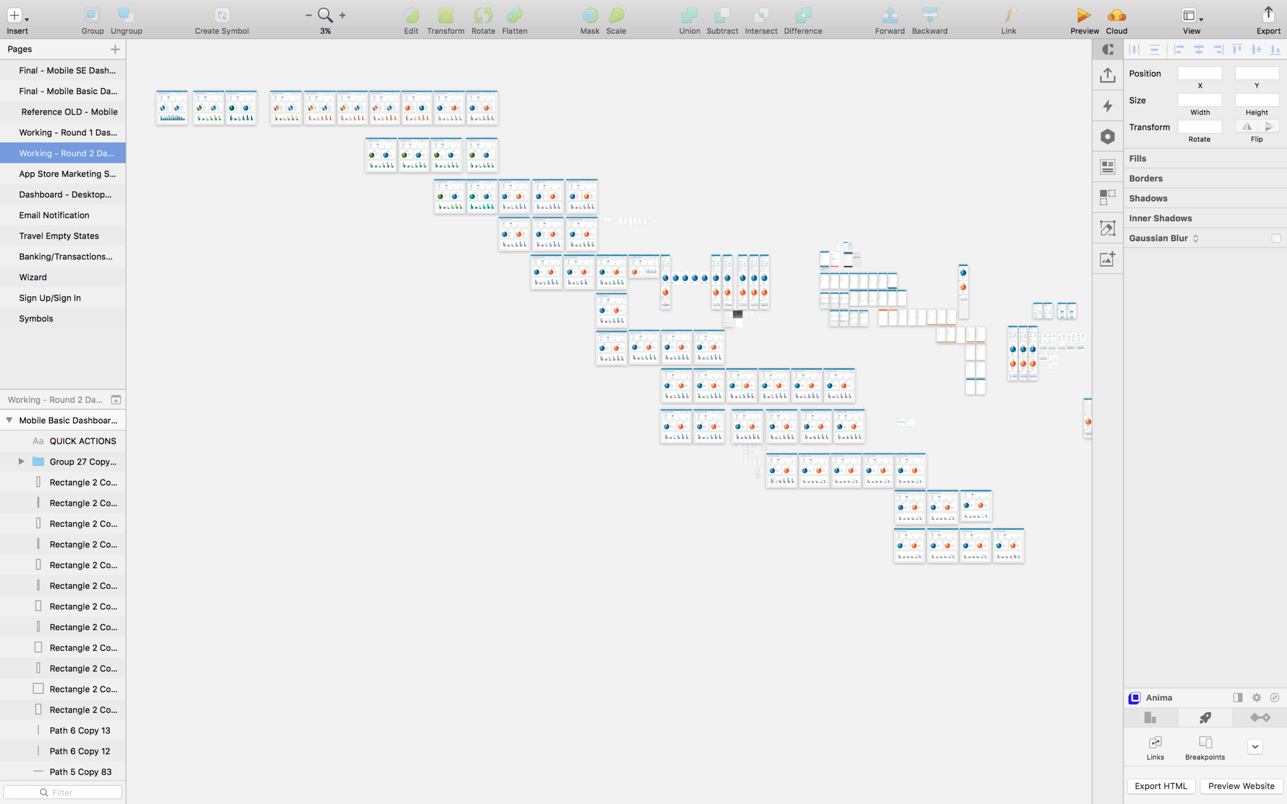 Screenshot of a typical working page in Sketch
