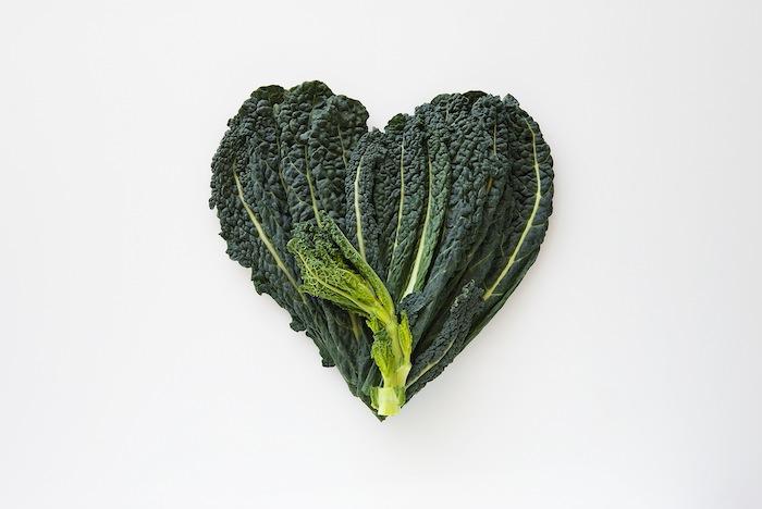 kale in heart shap