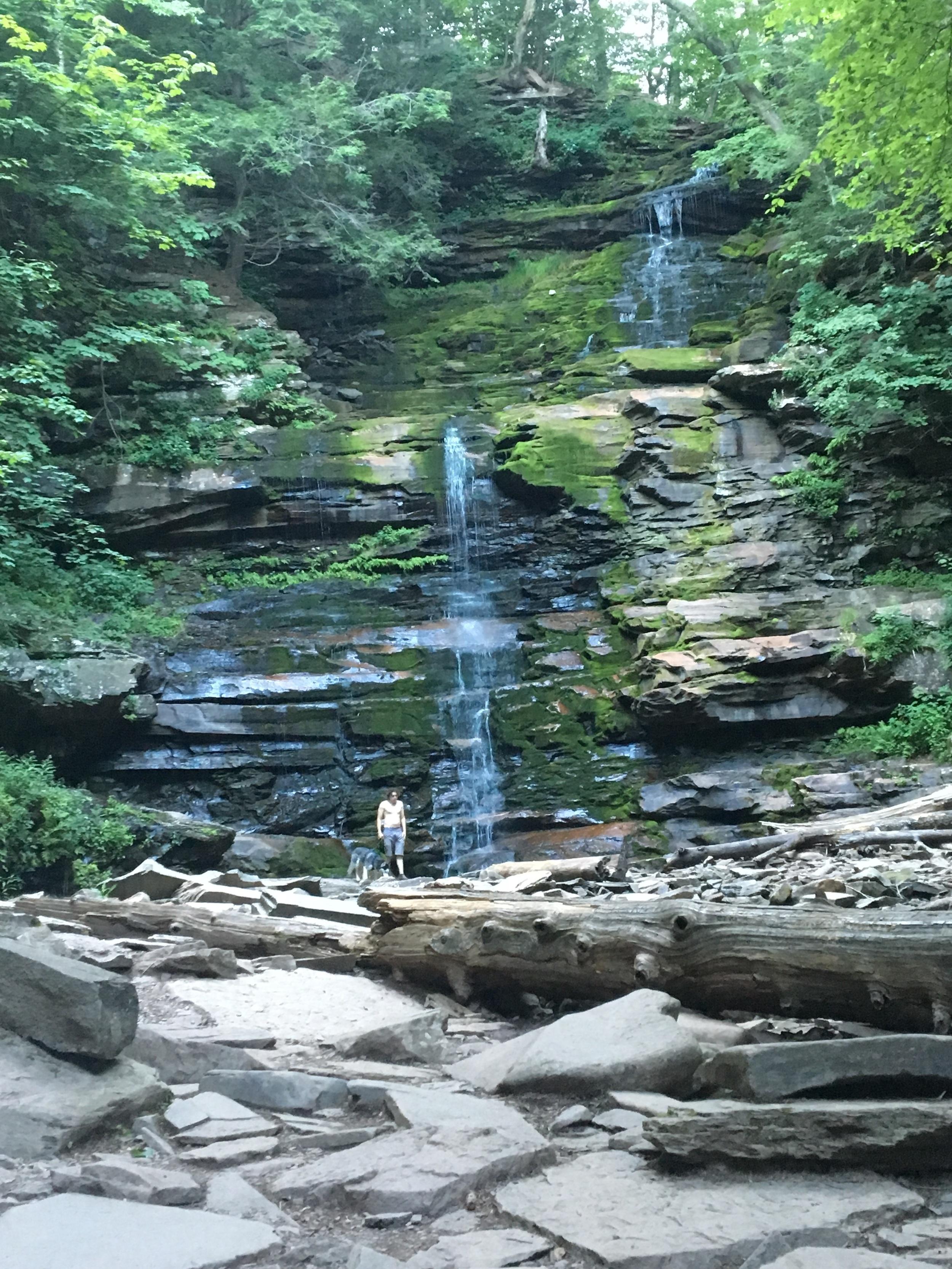 Ken & Balto beneath Ganoga Falls at Rickett's Glen State Park.