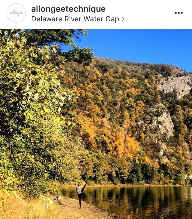 Jillian picture in front of Mt. Tammany, Del. River Water Gap. Photo by Ken.
