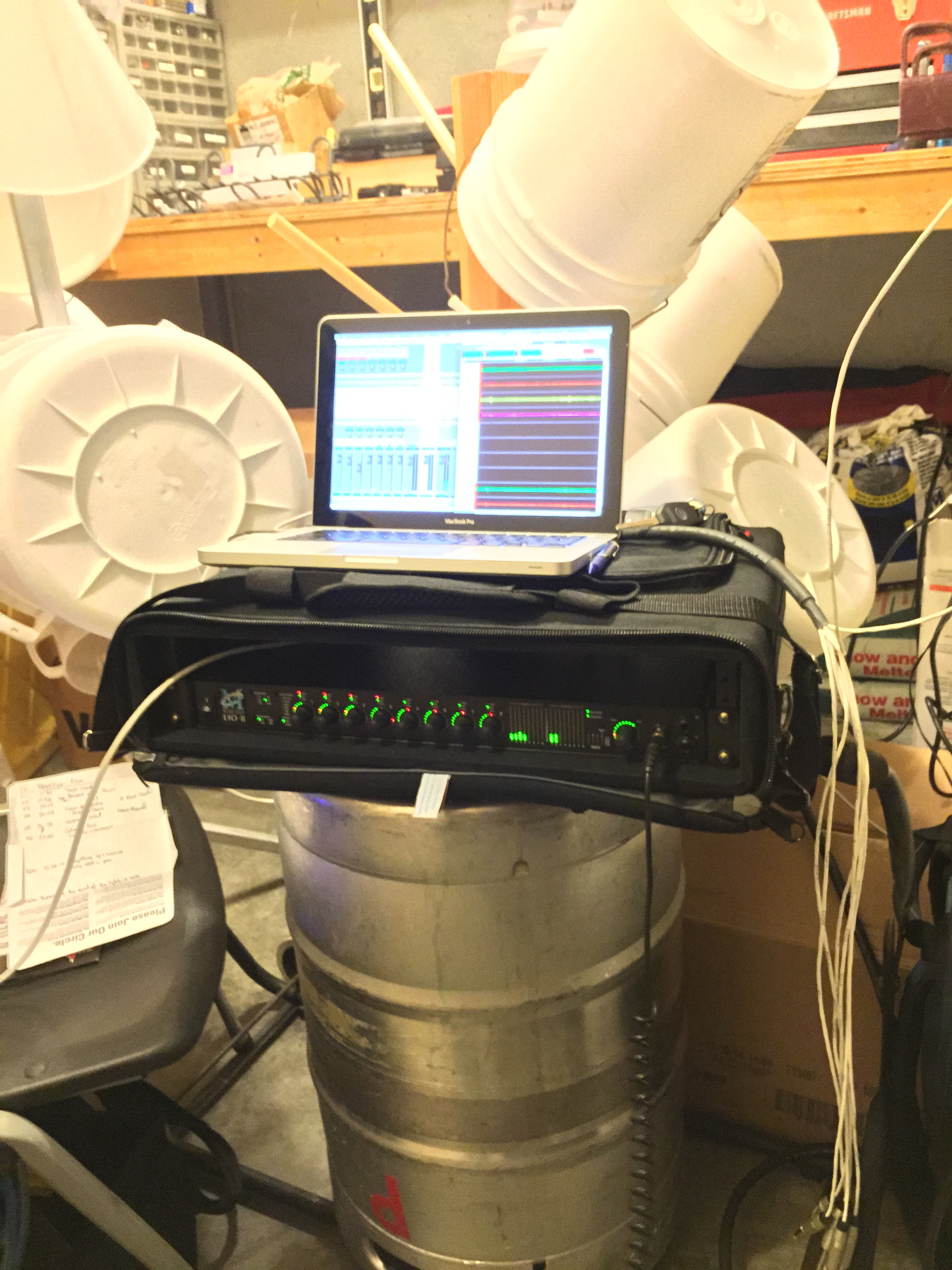 An improvised setup backstage at a winery...