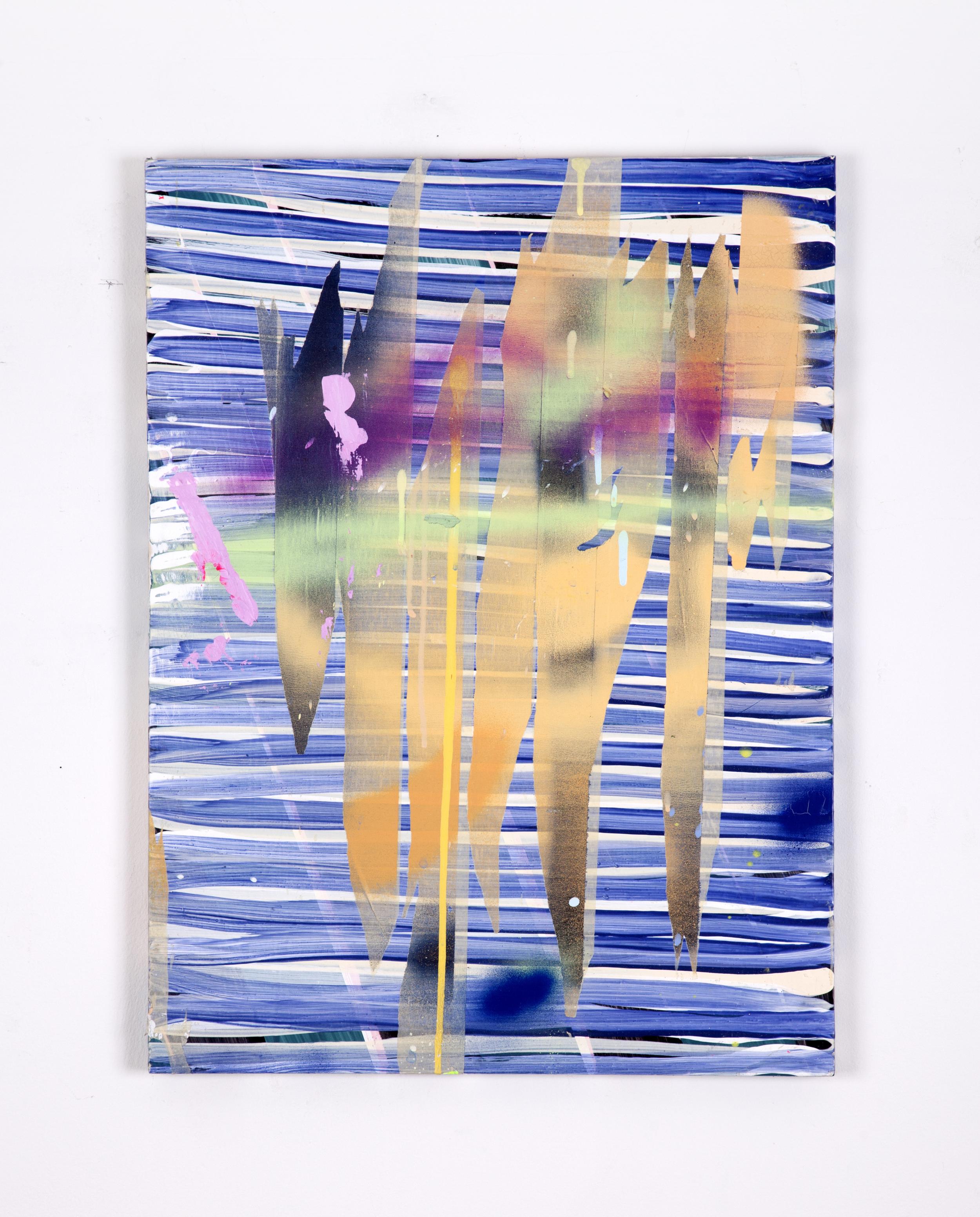 "Tape, spray paint, acrylic on wood  20""x28""  2014"