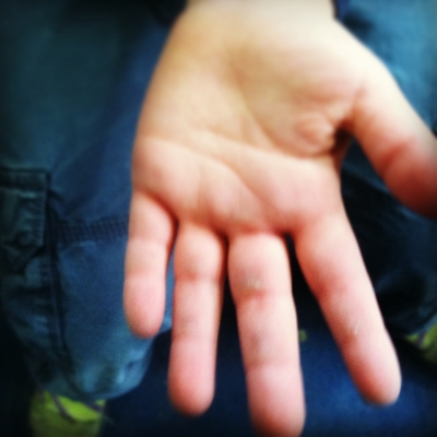 My four year old's hands. Baby callusesfor dayyys (I was so proud, I could cry)