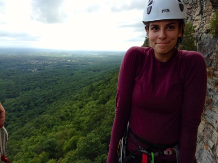 The lovely Allie Levy rock climbing in the Shawangunks. Photograph byMichi Arai