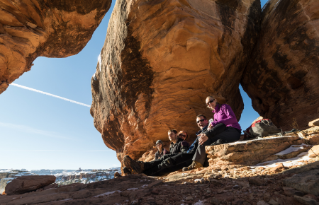 Hiking in the Needles when we found the perfect lunch spot. Photograph by Daniel Kokoszka