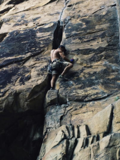 Zack on his first off-width, Cracked Actor (5.10a)