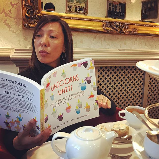 Funder partner in crime, Whitman Institute's Pia Infante digging in to #unicornsunite book over tea at the @skollworldforum. Whitman was one of the book's catalyst partners providing funding for the first print run! 🦄🦄 Whitman Institute is truly an #EPICpartner in the sector 😍