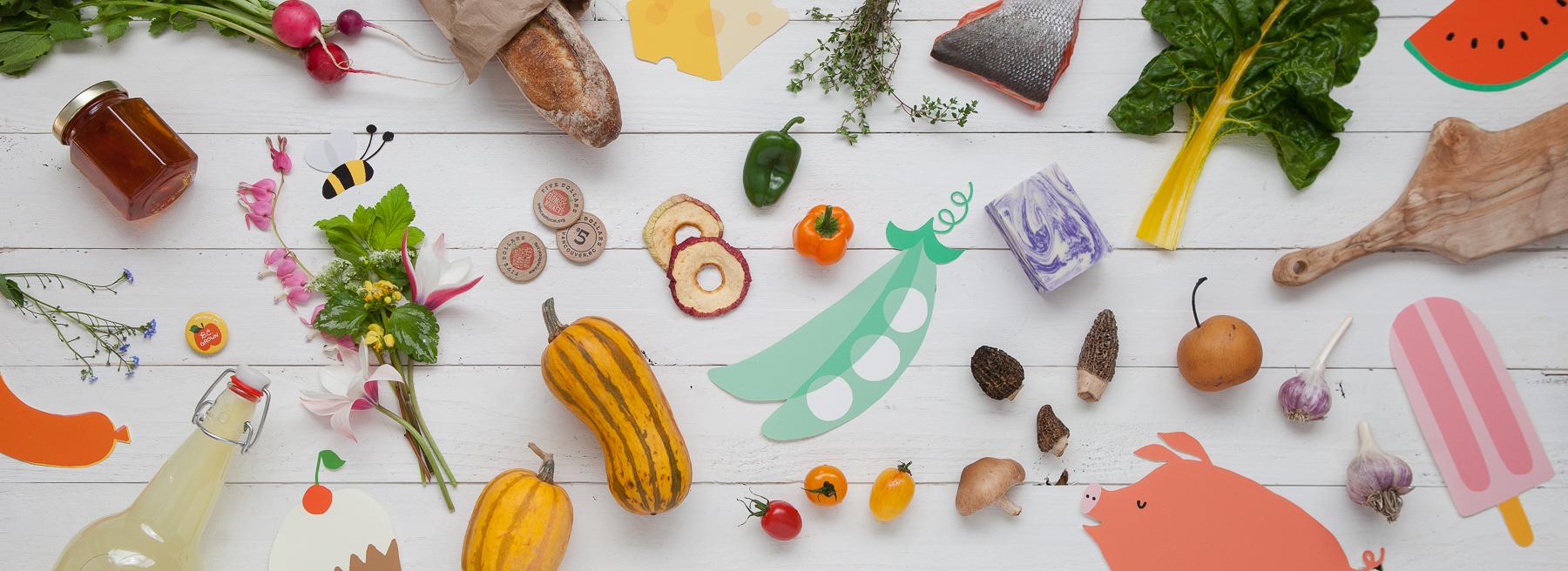 Header image shot for the  Vancouver Farmer's Market  website, with  Jane Koo 's illustrations & art direction.