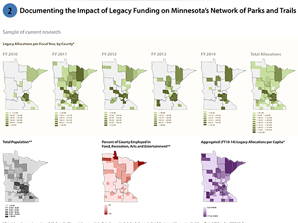Tracking government spending on parks and trails compared to population and economic trends helps  identify strategic locations for future investment .