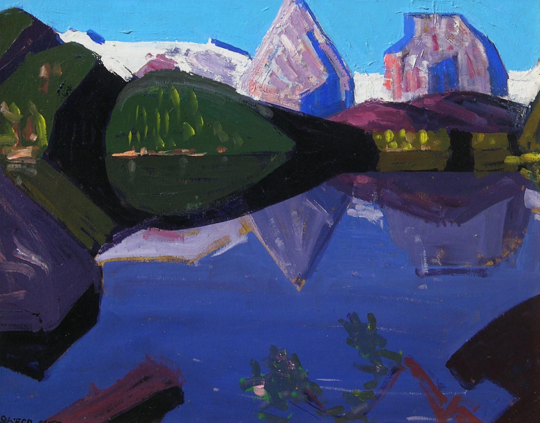 Mountain Reflection, Sierra Lake   / Oil on Board / 15.875x 19.75 in.