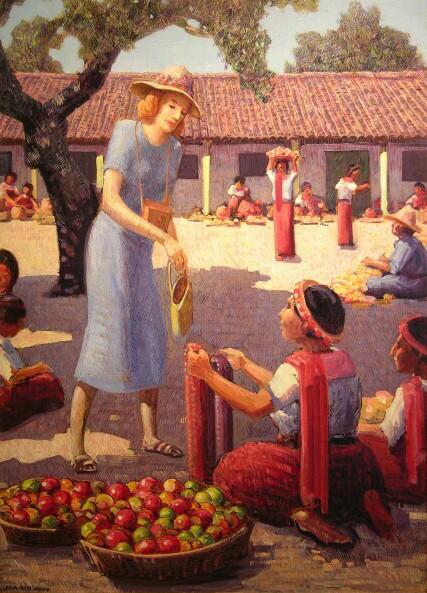 Village Scene   / Oil on Board / 31.75 x 22.375 in.