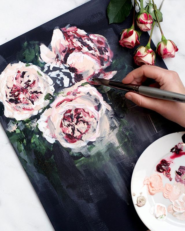 Painting impressionist roses for the @marcheafashion Fall 2019 collection. #impressionism  #MarchesaNotte
