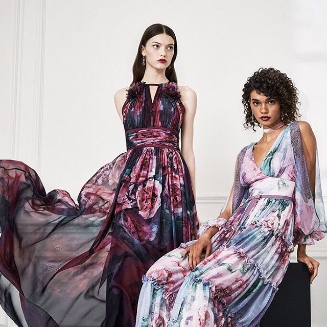 From canvas to gown! My lasts posts painting on floaty chiffon dresses for the Marchesa Notte Fall 2019 collection. #matchesanotte