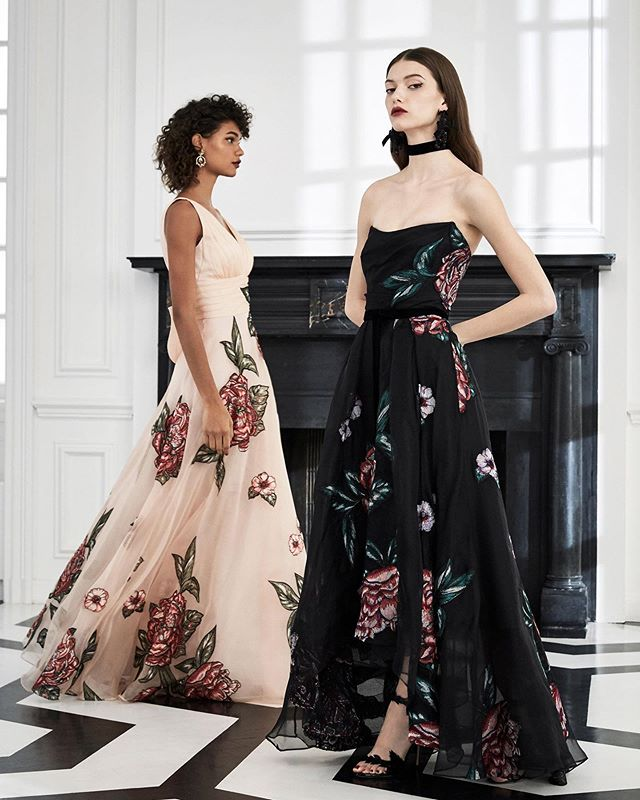 My previous post's artwork transformed into incredibly detailed multicolor thread work on silk organza gowns for the @marchesafashion #Fall2019 collection. Swipe for a close up. #marchesanotte