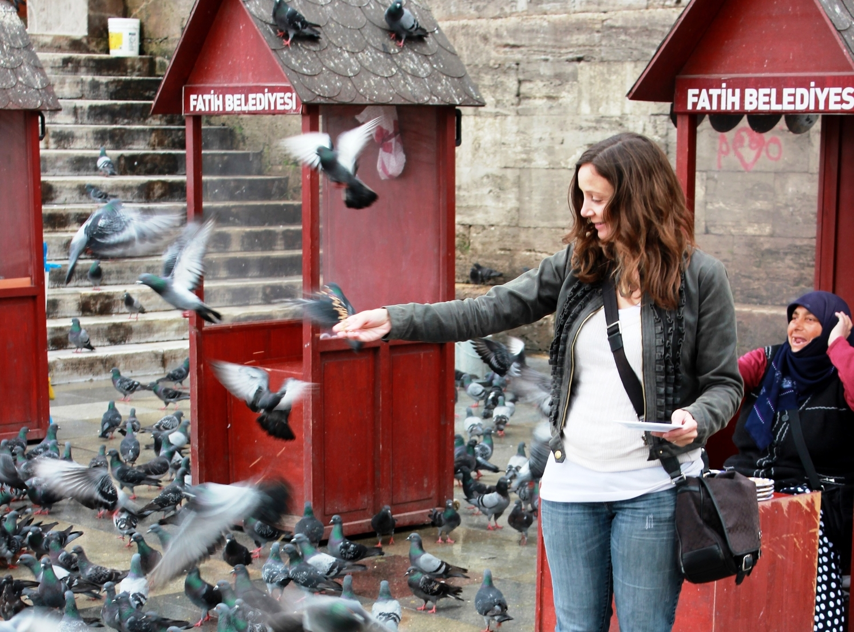 Feeding Pigeons in Istanbul, Turkey