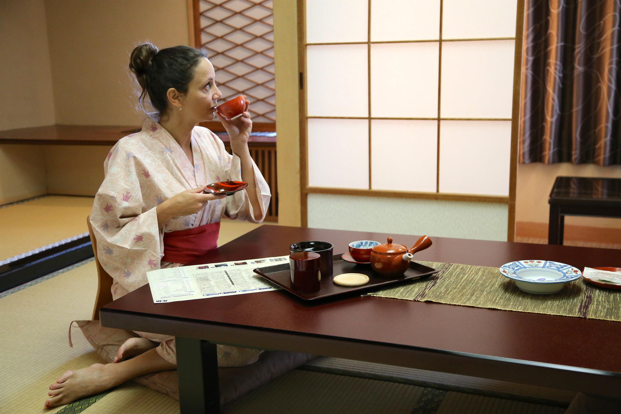 Drinking Green Tea at a Traditional Ryokan in Sendai, Japan