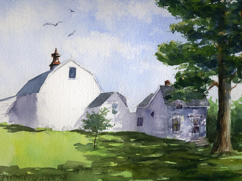 Coastal Farmhouse, Maine,  11 x 14