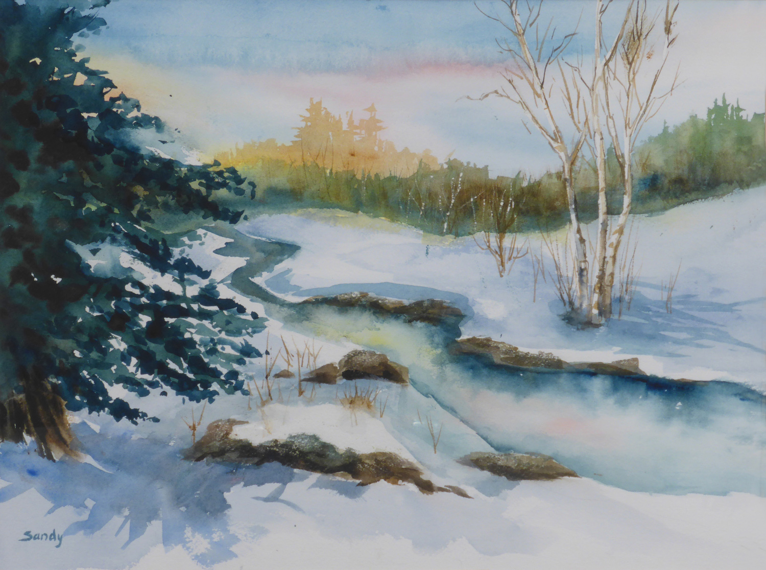 Snow on the River ,12 x 16 inches