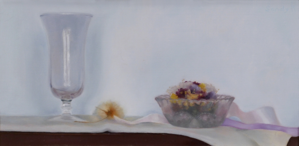 Glass and Dried Flowers ,6 x 12 inches