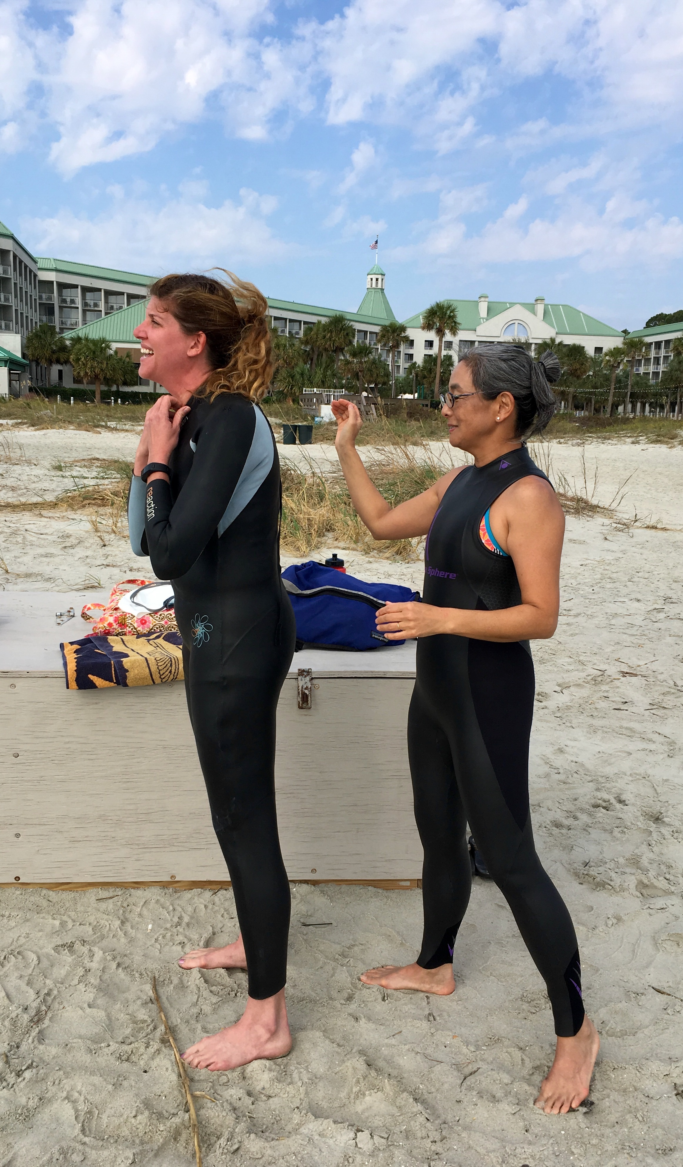 Me, an over-sized wet suit (that I'm thankful for, Al), and Miho.