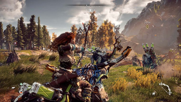 Horizon Zero Dawn 's HUD is almost completely removed in gameplay.